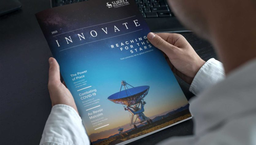 Reading the Surrey Research Park Innovate Magazine, 2021 issue